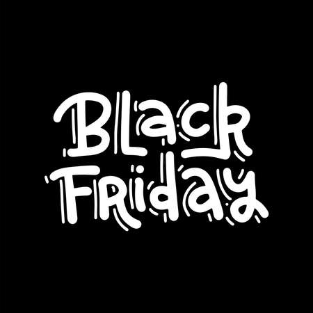 Hand drawn trendy lettering of Black Friday isolated on dark background. Flat hand drawn vector heading for banner or ad.