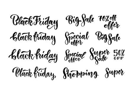 Black Friday sales brush lettering inscriptions set. Handmade typography labels for advertising. Vector vintage illustration for ad banners. Imagens - 157076310