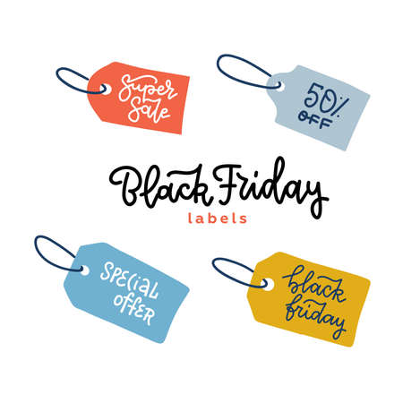 Set of tags for black friday sale banners. Vector label for promotion. Isolated on white background. Hand drawn flat illustration with trendy linear lettering.