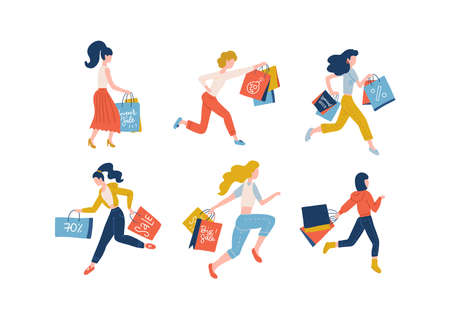Collection of women carrying shopping bags taking part in seasonal sale. Set of shopper girls addicted to buying in shop, store, mall or showroom. Colorful flat vector illustration.