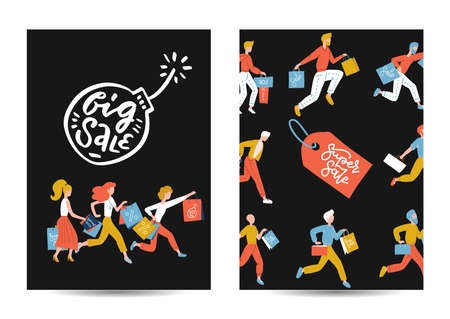 Black Friday vertical a4 poster or banner set. Flat Running People Characters with Shopping Bags. Promo Concept, Big Discount, Advertising Poster, Banner. Flat vector illustration with lettering.
