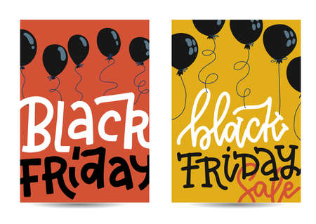 Set of vertical banners with Black Friday concept with black balloons and on red and yellow backgrounds with letterinf sale. Vector illustration in flat style. Ilustração