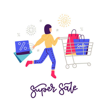 Young woman on shopping. Black Friday concept. Girl rushing shopping. Shopping female character with cart and paper bags. Lettering super sale. Flat vector illustration.