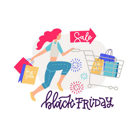Woman shopper with shopping cart and paper bags. Modern female character with trolley full of gifts and presents in supermarket or mall. Lettering with flat vector isolated cartoon illustration.