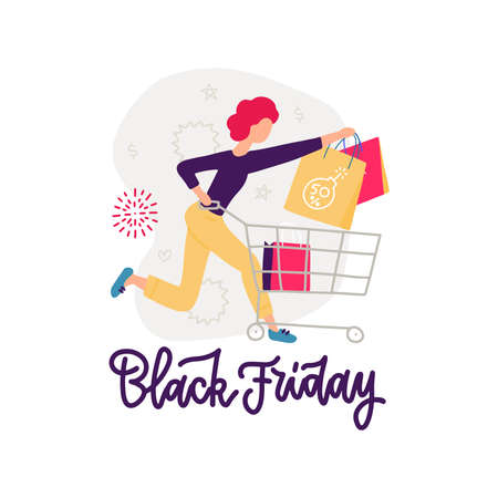 Young girl running for sale. Big discounts in stores. Opening stores after quarantine. Young girl carries a grocery cart. Flat vector illustration. Black Friday lettering banner.