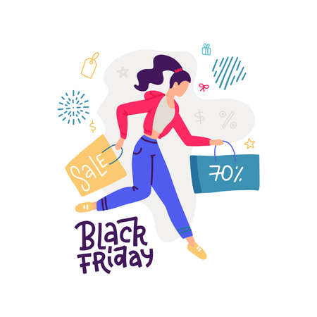 Happy cartoon girl running with shopping bag during sale. Joyful colored buyer woman carrying paper package isolated on white. Crazy shopaholic female enjoy discount. Vector flat illustration banner. Imagens - 157076428