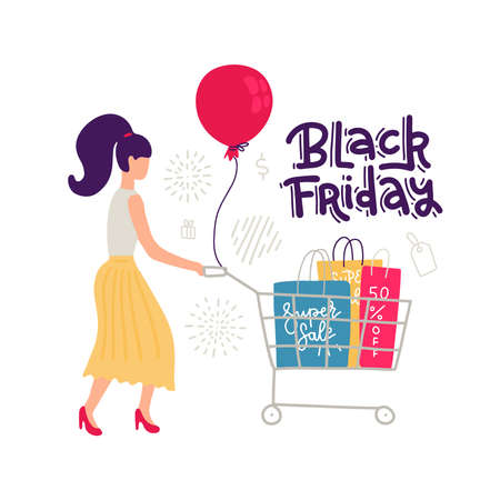 Colorful femalr sale character isolated on white background. Women in skirt in trendy flat style and lines with shopping cart and bags. Big Discount, black Friday lettering quote. vector illustration. Imagens - 157076429