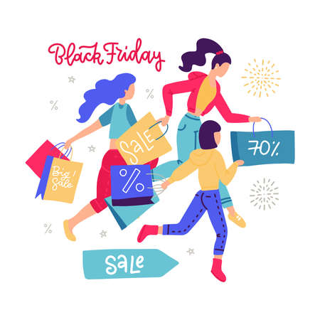 Women carrying shopping paper bag running for sales. Girls hurrying for seasonal sale in store, shop, mall, showroom. Female customers enjoying discounts. Black Friday lettering design. Flat vector