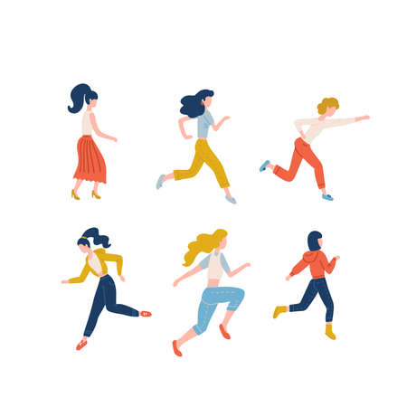 Set of happy running women dressed in casual clothes. Collection of funny people in hurry or haste. Joyful flat cartoon characters isolated on white background. Vector illustration. Black friday sale. Imagens - 157076431