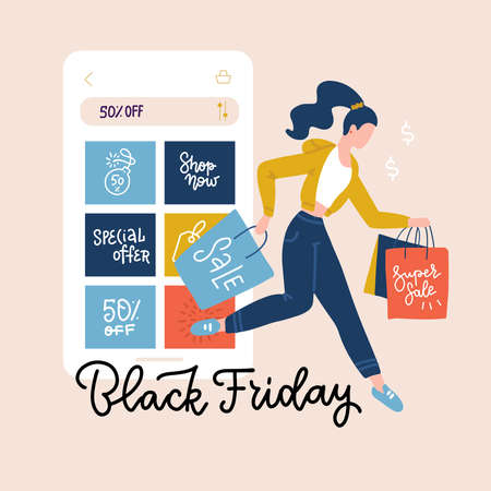 Black friday square banner. Smartphone with shopping order on the screen and happy woman with shopping bags. Online shopping and autumn sales concept. Flat Vector illustration with lettering
