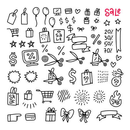 Mega Black friday sale set of icons and objects. Hand drawn doodle store discount design concept. Black and white outline design. Monochrome line art. Vector hand drawn illustration. Imagens - 157076432