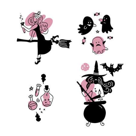 Young happy and attractive witches stickers or labels set, vector flat and line hand drawn collection. Pink and black. Imagens - 157076433