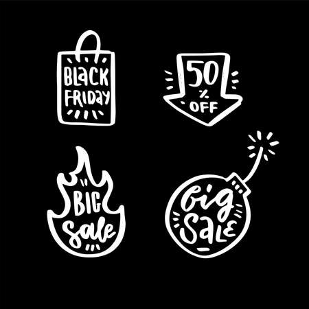 Set of letterings and hand drawn elements for black friday design. White textured chalk prints in black background. Bug Sale. 50 percent off. Imagens - 157076437