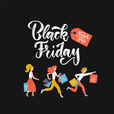 Black Friday crowd of women running to the store on sale. Flat vector illustration. Lettering text with red tag on dark background. Square banner with pretty girls holding shopping bags in hands,. Ilustração