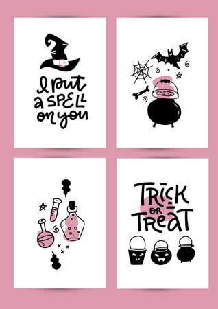 Halloween party invitation, greeting card, flyer, banner, poster templates in A4 size set. Hand drawn traditional symbols, cute elements in pink and black colors. Vector simple illustration, lettering Imagens - 157076439