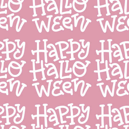 Only text Happy Halloween vector seamless pattern. Hand drawn trendy lettering in linear style for girls. Imagens - 157076440