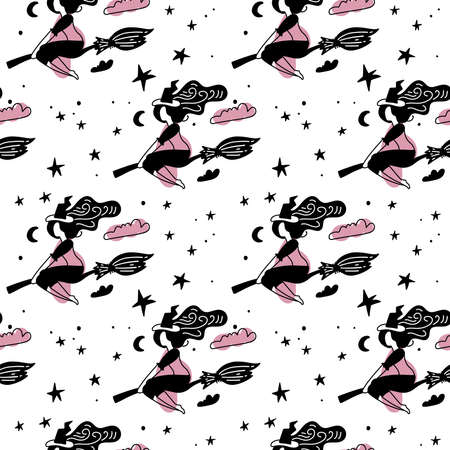 Pink and black Abstract seamless pattern for girls. Creative vector background with young witch on broom for halloween. Funny wallpaper for textile and fabric. Fashion Simple picture for children Imagens - 157076442