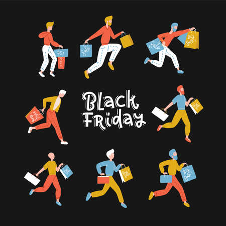 Black Friday crowd of male people running to the store on sale. Flat design vector illustration. Lettring text. Square banner.