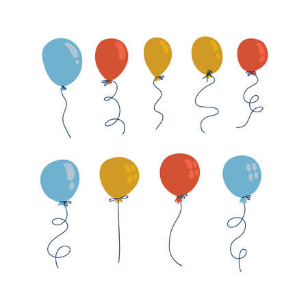 Blue, yellow and red balloons in cartoon flat flat style isolated on white background. Vector set for sale decor. Imagens - 157076443