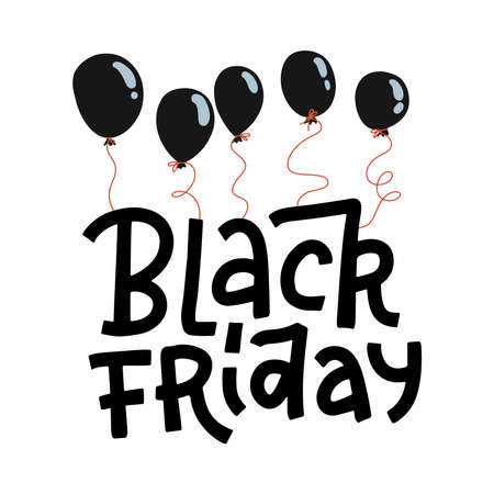 Black Friday lettering quote hanging on black balloons isolated on a white background. Vector flat hand drawn Illustration for ad banners design. Imagens - 157076444