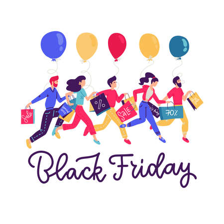 Banner template for Black friday sale. People running for shopping and holding balloons and paper bags with lettering text.. Vector flat illustration. Men amd womwn shopoholic.