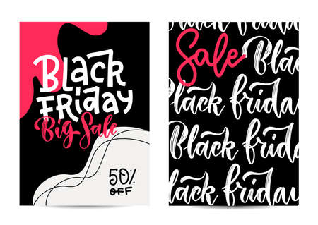 Set of tow vertical banners for a black Friday sale. Typographic vertical posters with lettering text. Flan hand drawn only word design.