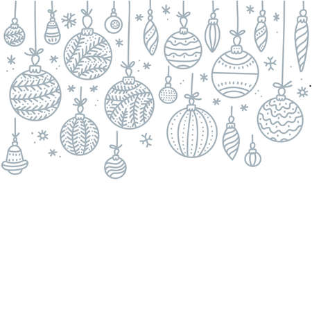 Square anner of row of hanging Christmas Baubles isolated on a white background. Outline vector illustration of border with gray hand drawn ball. Good for party posters, cards, website headers Imagens - 157076446