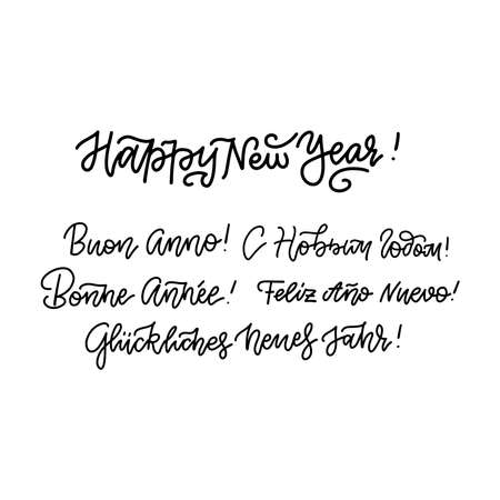 Set of happy new year in different languages - English, Spanish, Russian, German, French and other. Hand drawn outline lettering design for card, banners and other. Ilustração