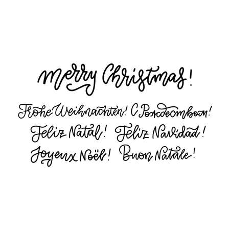 Merry Christmas lettering set in different languages - Russian, Italian, Spanish, French, German, English. Holidays vintage linear calligraphy for invitation, greeting card, prints Imagens - 157076448