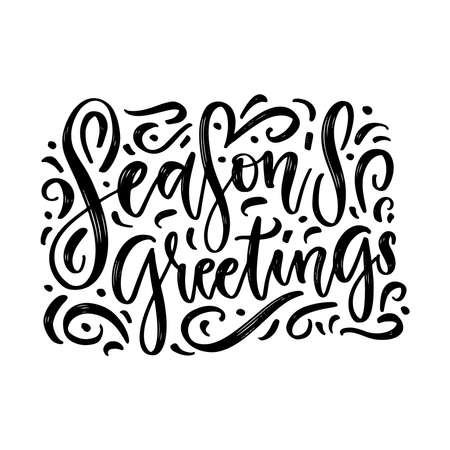 SEASONS GREETINGS vector brush calligraphy with flourishes isolated on whita background. Beautiful decorated brush lettering header. Imagens - 157076449