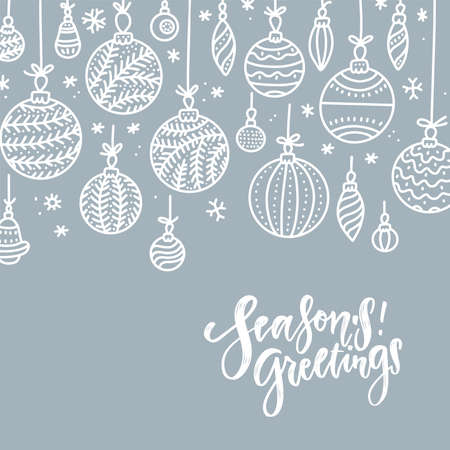 Minimalist Christmas gray silver background with hanging baubles and wishes. Xmas greeting card. Vector flat hand drawn illustration with lettering Seasons Greetings.