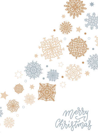 Merry Christmas Background with Gold and Silver Snowflakes on White upright background. Vector flat simple Illustration with hand written lettering. Imagens - 157076451