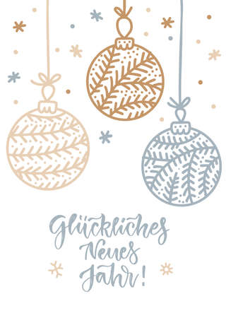 Vector illustrations of gold, silver snowflakes and balls, baubles card on white background. Linear vertical design with letterinf Gluckliches Neues Jahr German tanslation - Happy new year . Imagens - 157076452