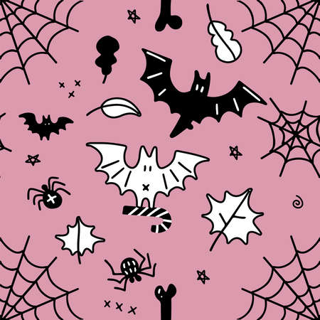 Seamless pattern for Halloween. Cartoon pattern for Halloween. Vector flat simple background with spooky elements