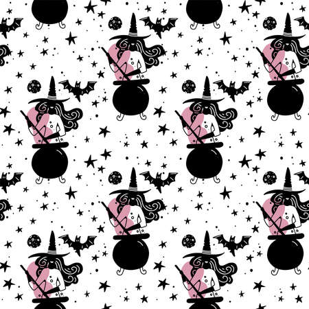 Seamless pattern with witches making a magic potion in cauldron. stars andmoon at sky. Simple silhouette girly illustration. magic pink night. Flat design for wrapping and textile.