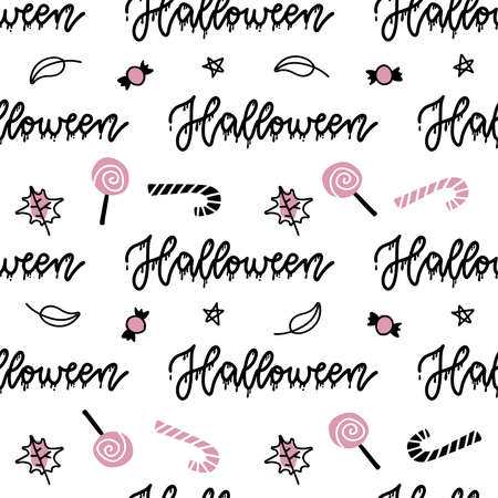 Halloween seamless pattern. Vector hand drawn illustration with lettering word and sweets Linear art Imagens - 157076457