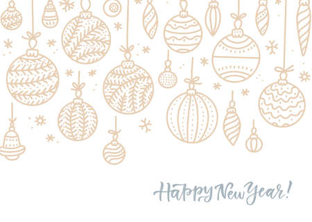Hanging outlined Christmas ball with a floral swirl decor. Hand drawn calligraphy happy new year lettering. Design holiday greeting cards and invitations of Happy New Year and seasonal holidays Imagens - 157076458