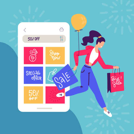 Online shopping at balck friday sale. Young girl leaves phone shop with purchases in bags. Woman buying, ordering clothes by mobile app. Fashion boutique customer. Isolated flat vector illustration. Imagens - 157076461