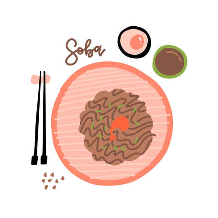 Japanese food soba noodles with shrimp and chopsticks illustration in flat style. Top view Imagens - 157076463
