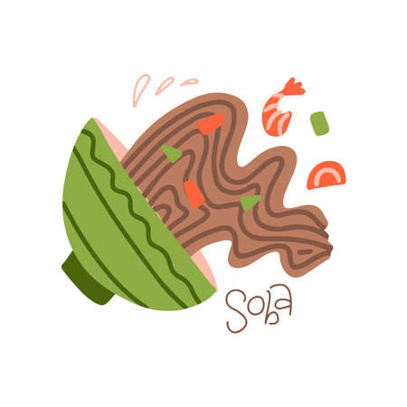 Spilled soba noodle soup, japanese dish with noodles, shrimps and vegetables. Asian cuisine, Buckwheat noodle bowl, cute cartoon vector illustration. Imagens - 157076464