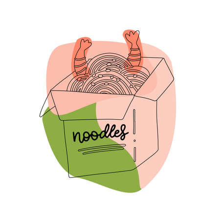 Hand drawn Chinese food box, noodle with shrimps. Linear sketch ollustration on abstact shapes. Tasty illestration for menu.