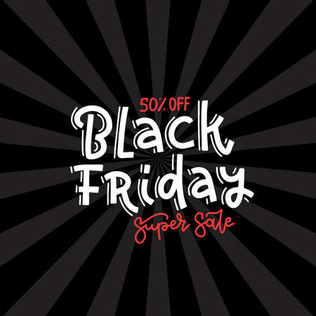 Black friday Super sale square banner design template. Black friday banner with hand written lettering and ray background. Imagens - 157076466