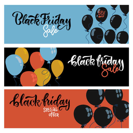 Black Friday Sale Horisontal Web Banners set. Flying flat Balloons on Blue, Black and Red Backgroun. Shopping Day sale offer, banner template. Autumn Shop poster design. Vector hand drawn lettering. Imagens - 157076467