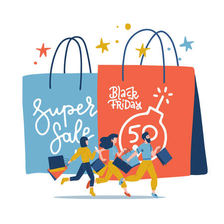 Black Friday Annual Grand Sale Event. Young characters buying things with a big discount. paper shoping bag with small customers running to store . Flat vector illustration