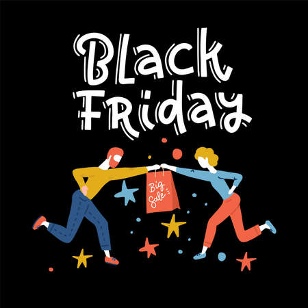 Special Offer Black Friday Sale square banner, poster or flyer template with shoppers trying to take from each other last goods in gab left in store. Flat vector illustration with letteting Imagens - 157076472