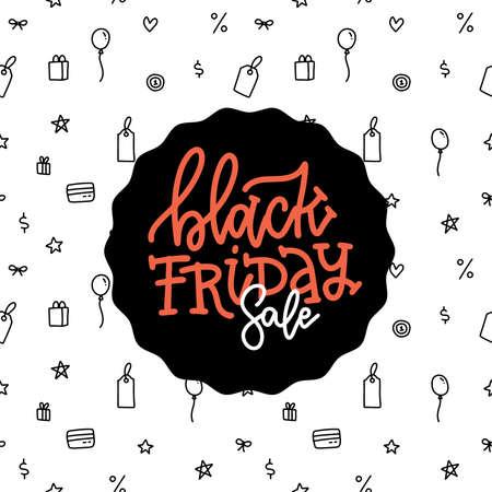 Black Friday Slae inscription design template. Black Friday lettering banner in linear pattern background. Vector hand drawn illustration. Ilustração