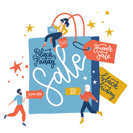 Black Friday sale inscription design template vector flat illustration. Big blue paper bag and small people with purchases, sale signboards. First day of traditional christmas shopping Ilustração