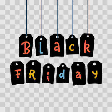 Black Friday letters on tags hanging in row with colorful words on transparent background. Festive thematic vector decorations for sites, stores, mobile app on the annual big sales day. Lettering word Imagens - 157076490