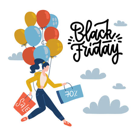 Vector flat poster for black friday. Young woman holding shopping bags in her hands and flies on balloons. Discounts, sale. Square banner with hand drawn lettering. Imagens - 157076491
