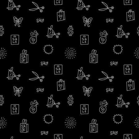 Repeatable seamless pattern and texture. Sale icons. Best special offer symbols. Black friday sign. Vector lines on white background. Ilustração